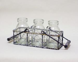 Wire Holder w/ Three Glass Bottles