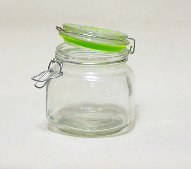 Glass Jar w/ Attached Glass Lid (Lime Green Accent)