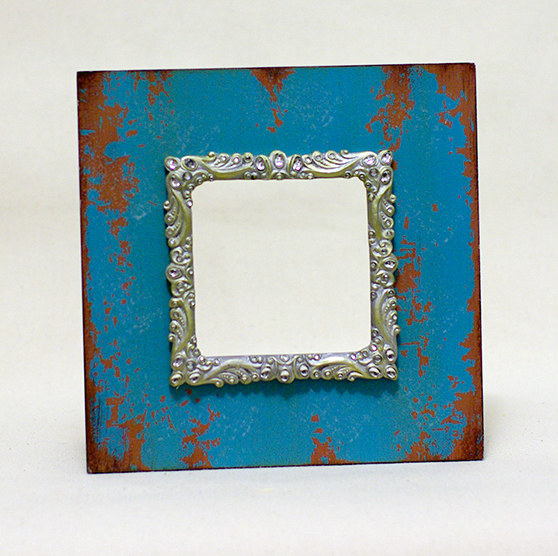 Turquoise Rusted Metal picture frame