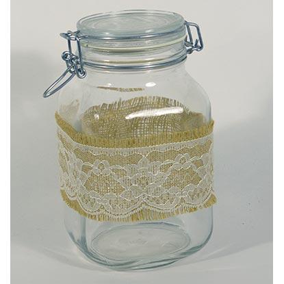 Burlap/Lace Wrapped Cookie Jar