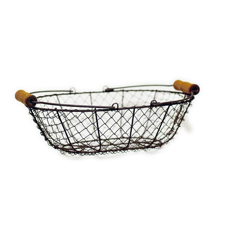 Shallow Wire Basket with Wooden Handles