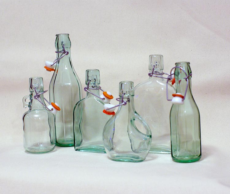 Single Stem Bottles with Attached Stoppers
