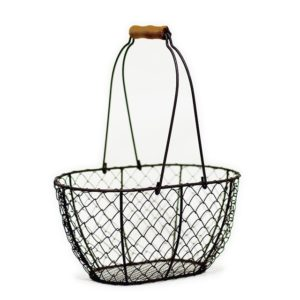 Small Wire Basket with Wooden Handles