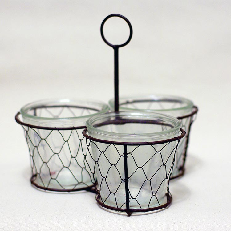 Wire holder with 3 glass jars