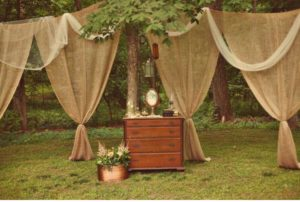 burlap curtains for event rentals