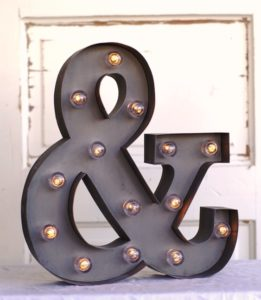 ampersand marquee light for rent