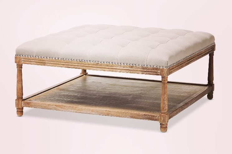 Ivory Ottoman Coffee Table Motif Event Rentals