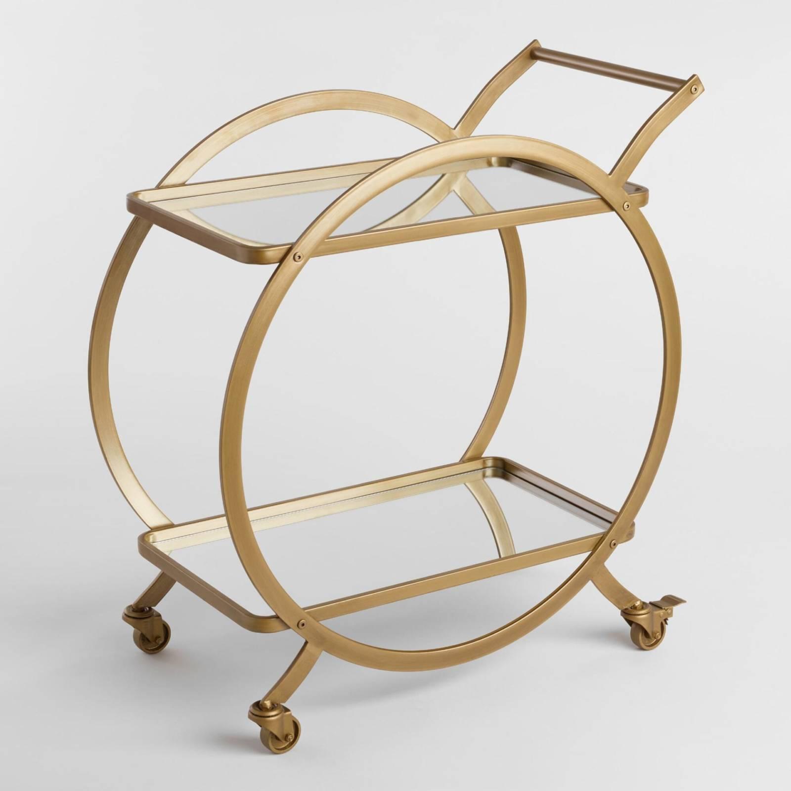 Gold Circle Bar Cart Motif Event Rentals